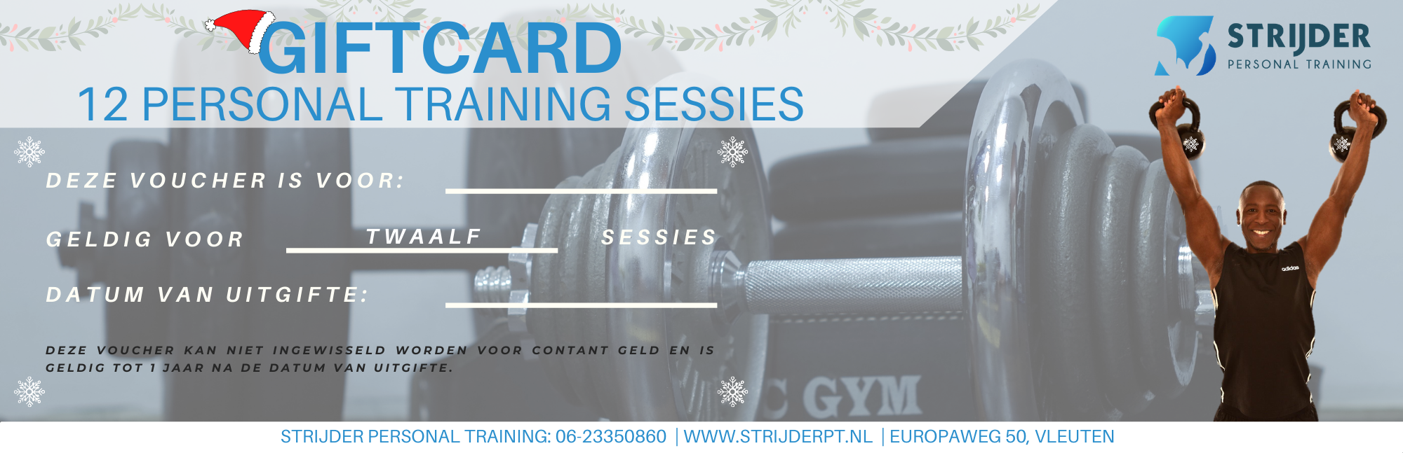 Strijder Personal Training Kerst Giftcard voor 12 sessies