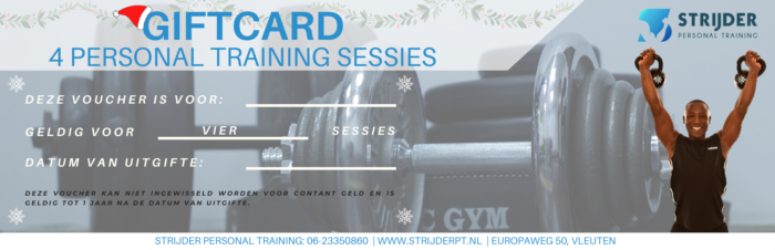 Strijder Personal Training Kerst Giftcard 4 sessies